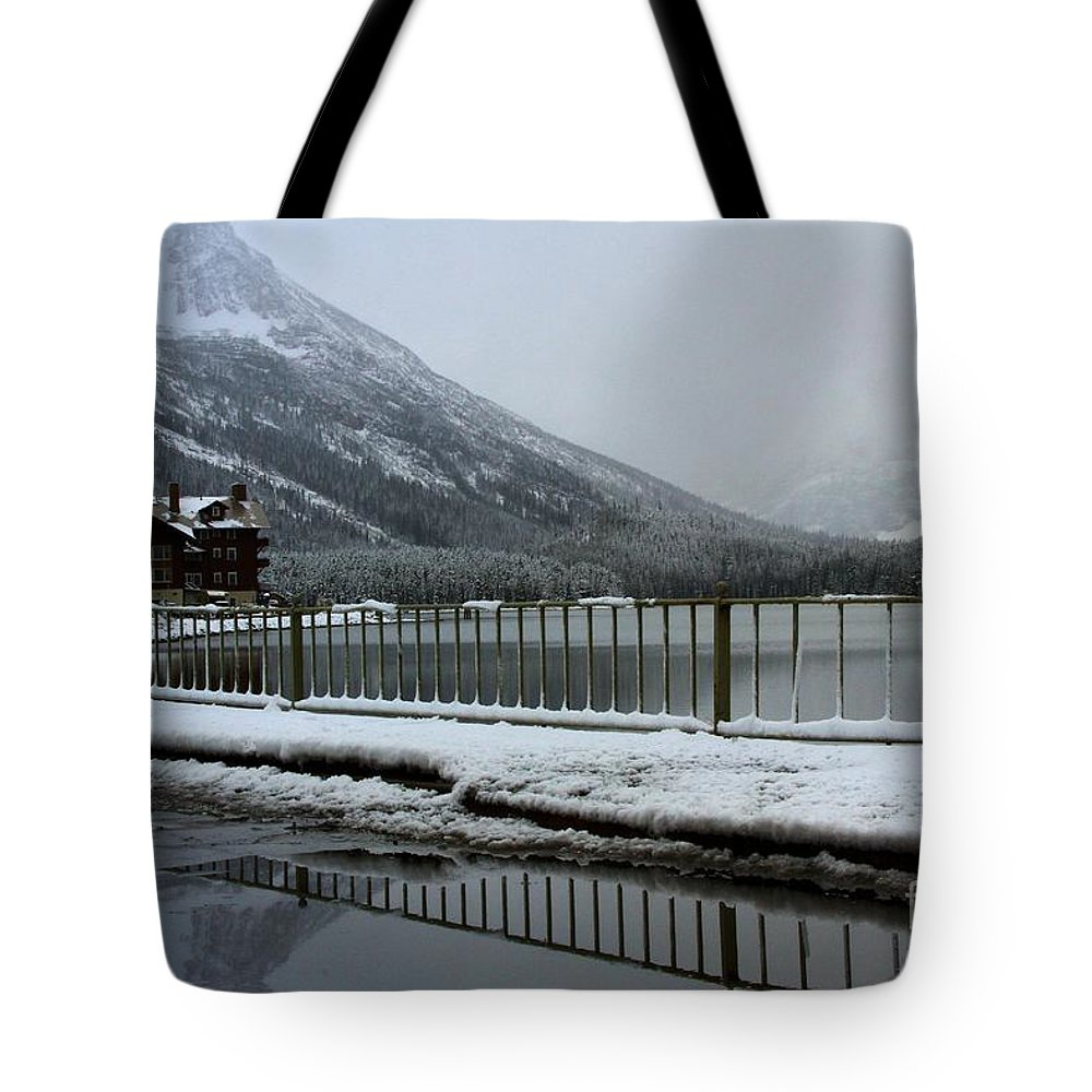 Many Glacier Lodge Tote Bag featuring the photograph Closed For The Season by Adam Jewell
