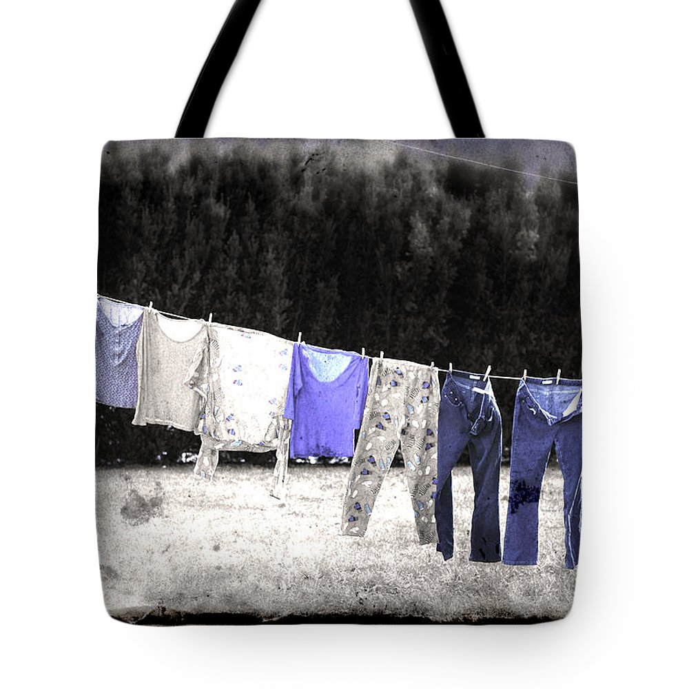 Jeans Tote Bag featuring the photograph Clothesline by Gray Artus
