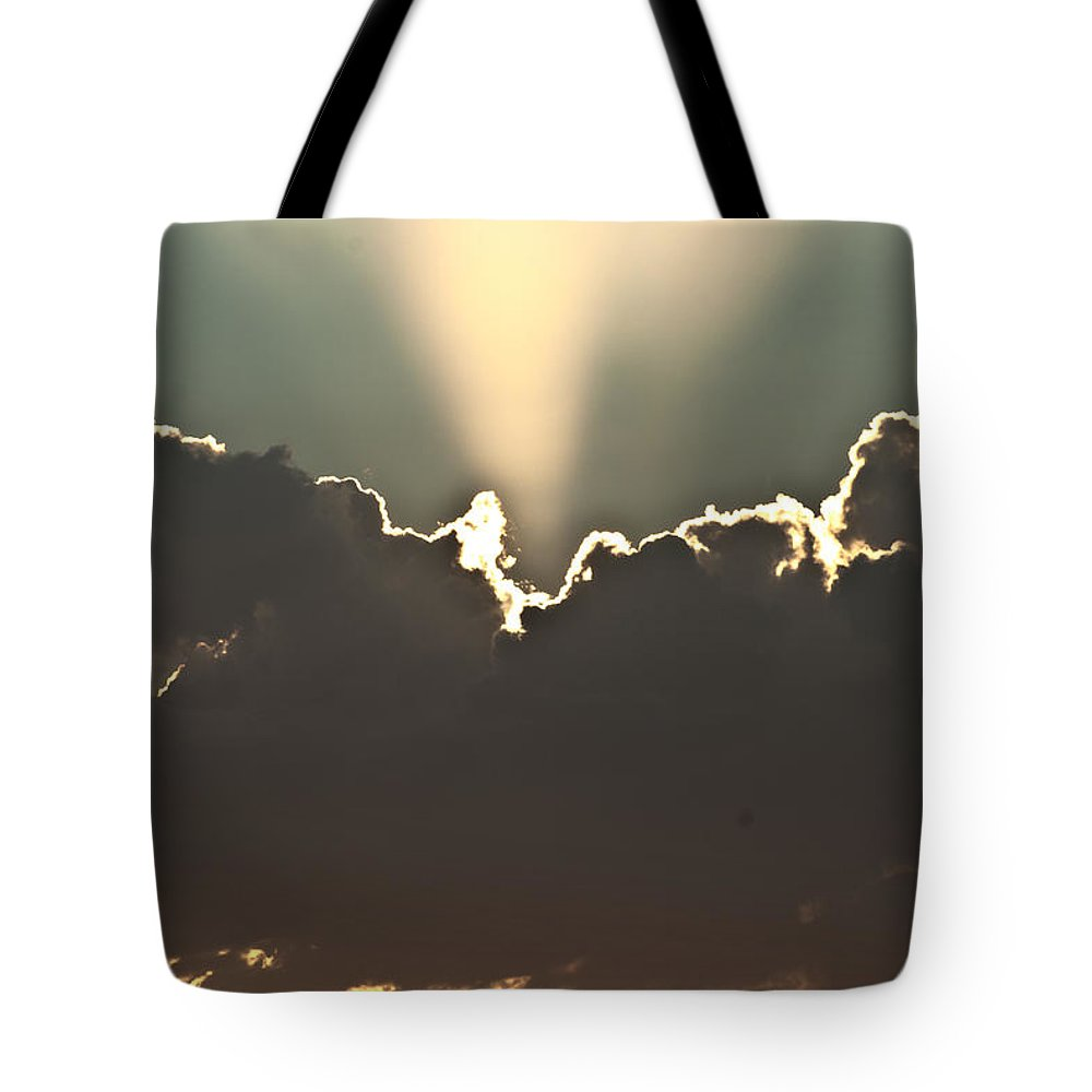 Clouds Tote Bag featuring the photograph Cloud Beams by Stephanie Haertling
