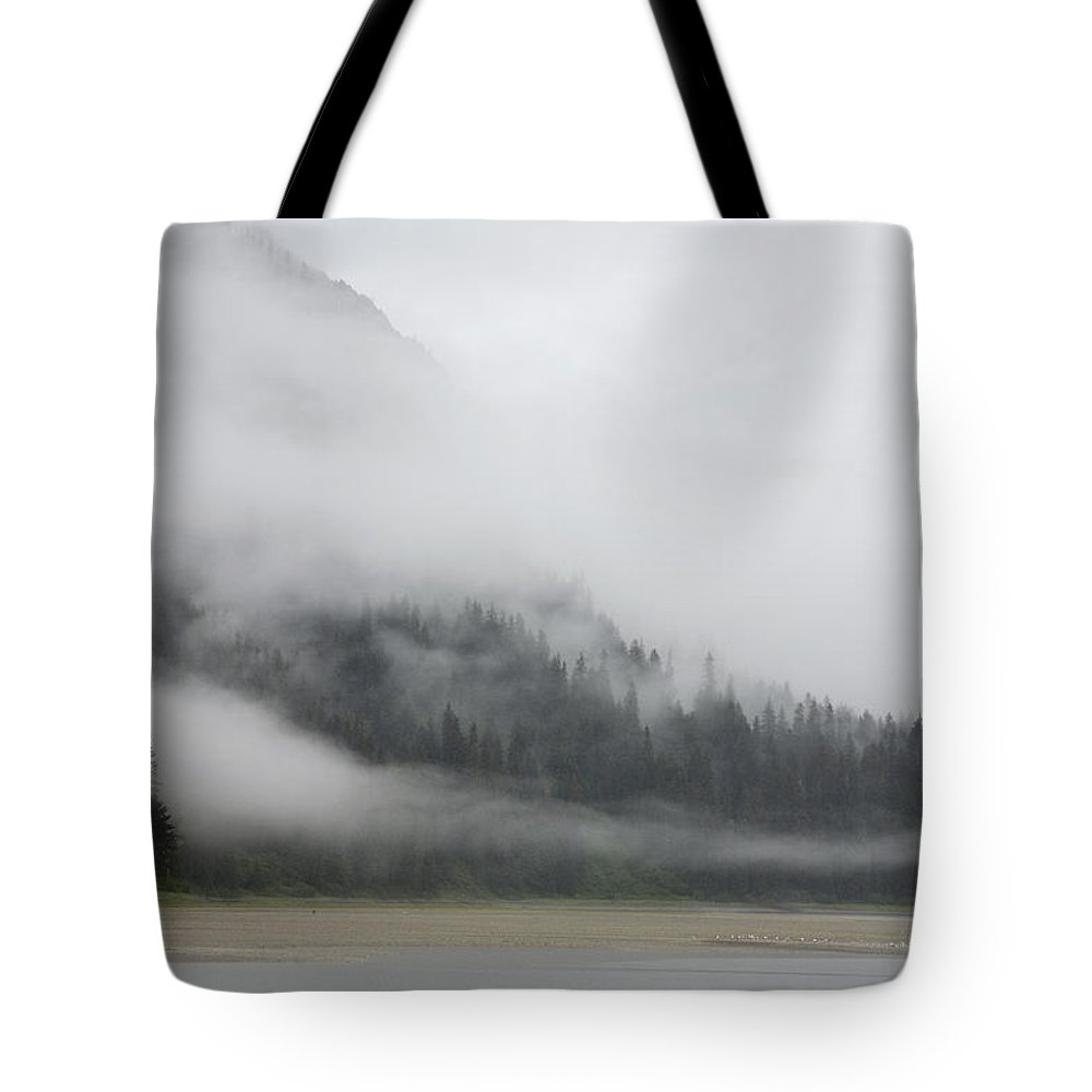 Mp Tote Bag featuring the photograph Clouds And Mist Over Forest, Admiralty by Konrad Wothe