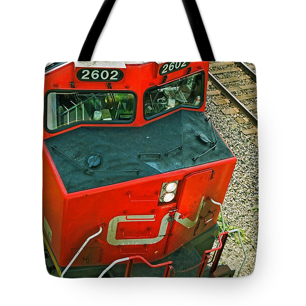 Trains Tote Bag featuring the photograph Cn Train Cab by Randy Harris