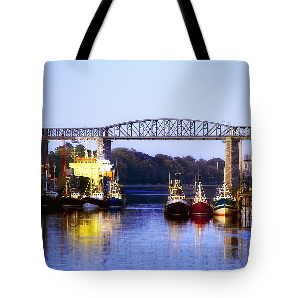 Blue Tote Bag featuring the photograph Co Louth, Drogheda And River Boyne by The Irish Image Collection