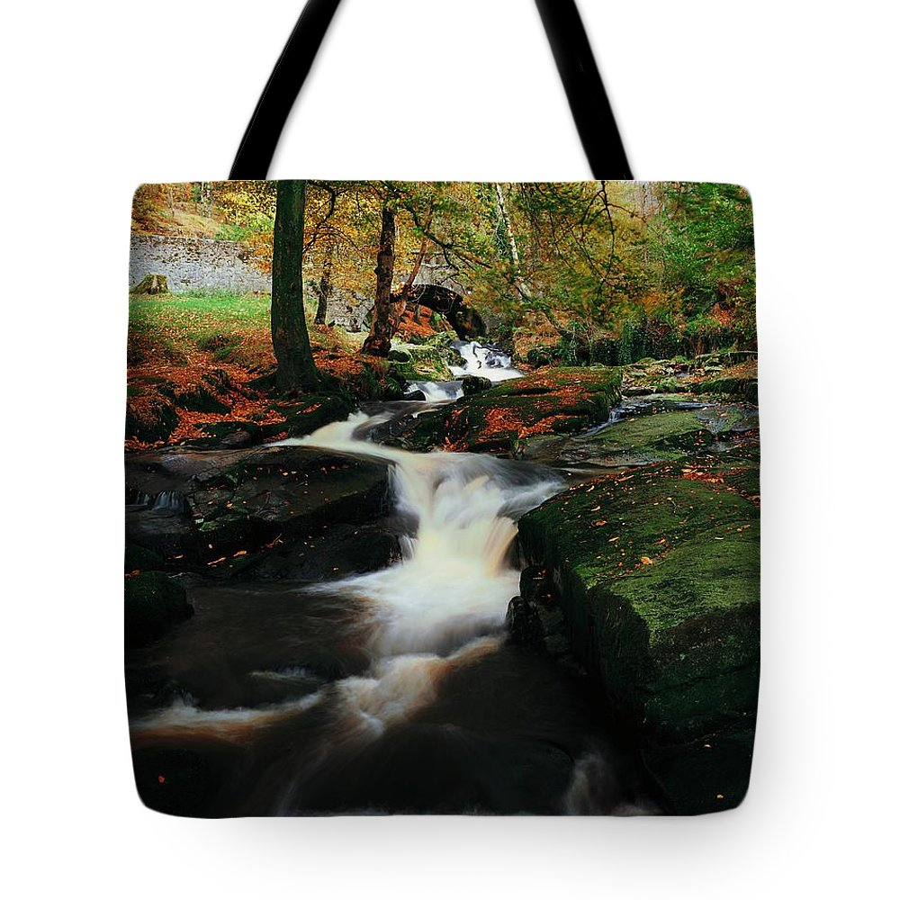 Beauty Tote Bag featuring the photograph Co Wicklow, Ireland Waterfalll Near by The Irish Image Collection