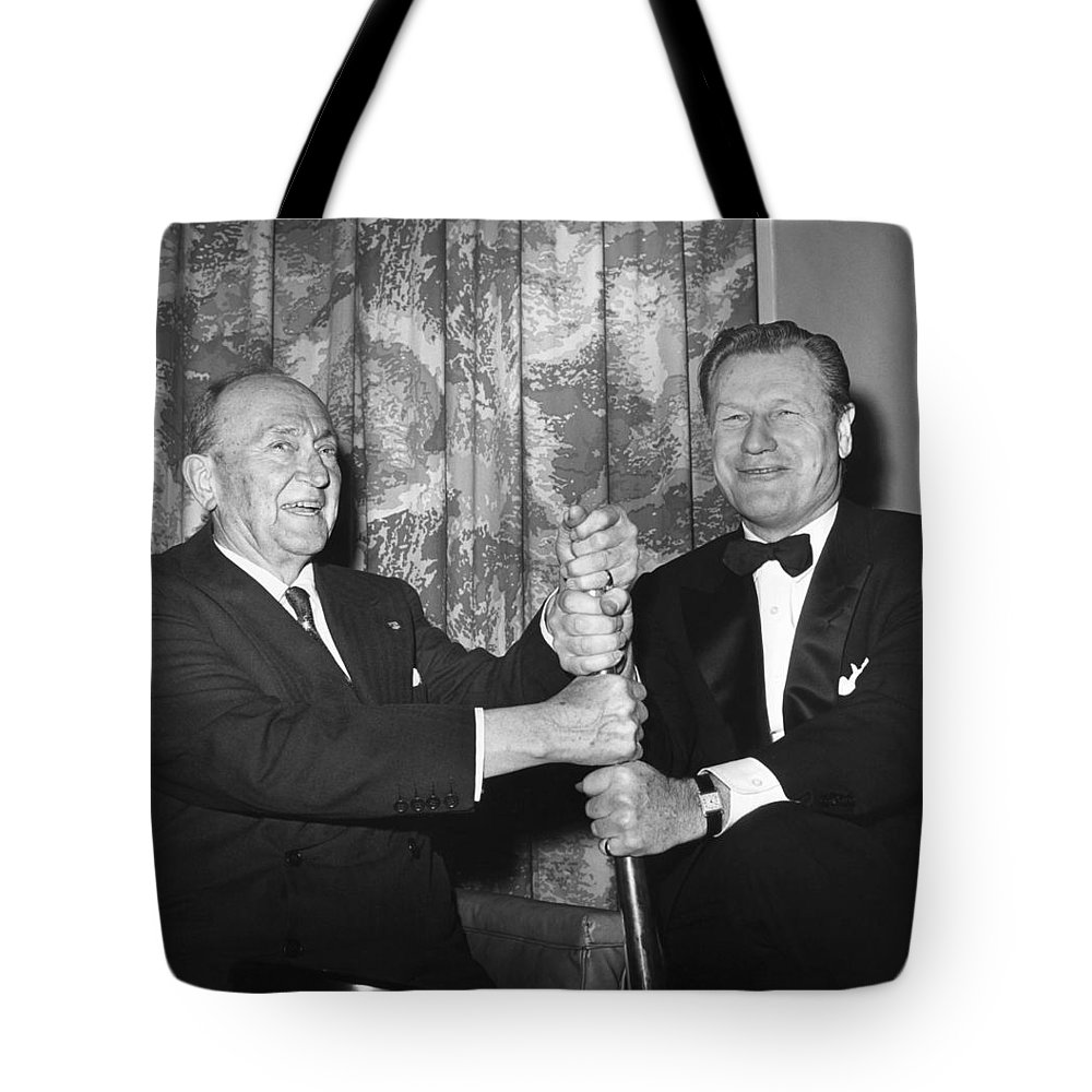 1960 Tote Bag featuring the photograph Cobb & Rockefeller, 1960 by Granger