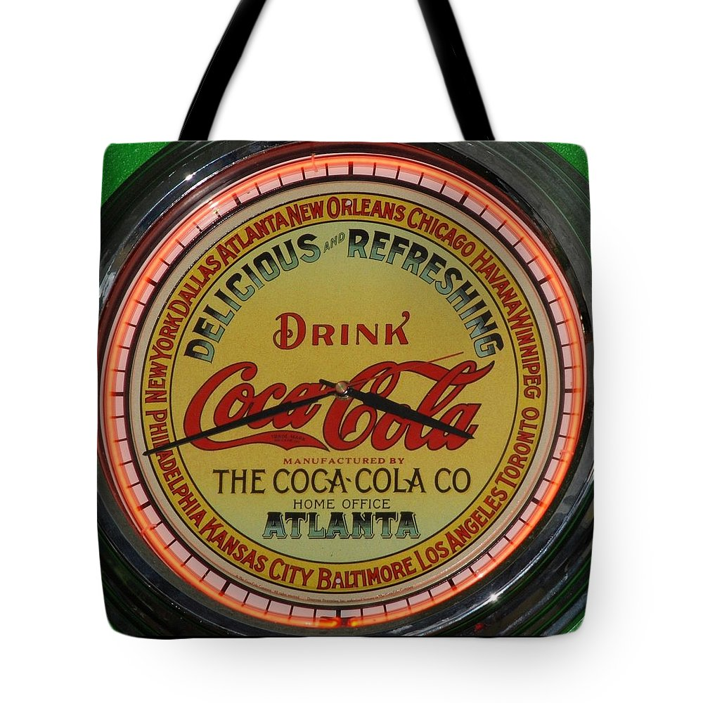 Cock Cola Tote Bag featuring the photograph Coca Cola Clock by Rob Hans