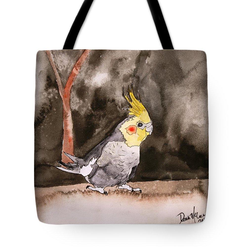 Cockatiel Tote Bag featuring the painting Cockatiel by Derek Mccrea