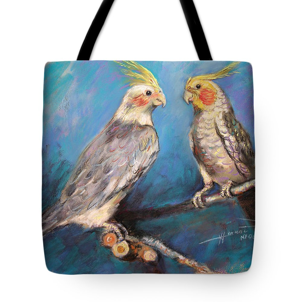 Coctaiel Tote Bag featuring the pastel Coctaiel Parrots by Ylli Haruni