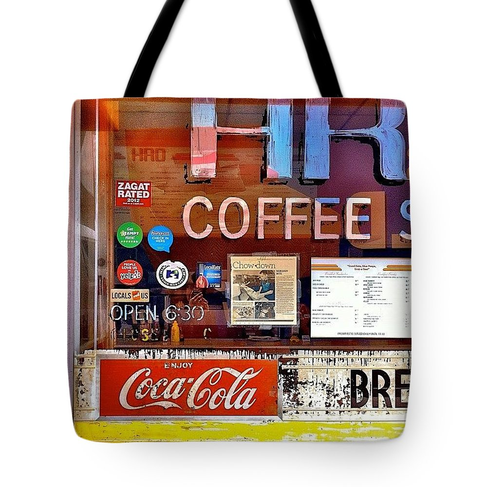 Sanfrancisco Tote Bag featuring the photograph Coffee Shop Window by Julie Gebhardt