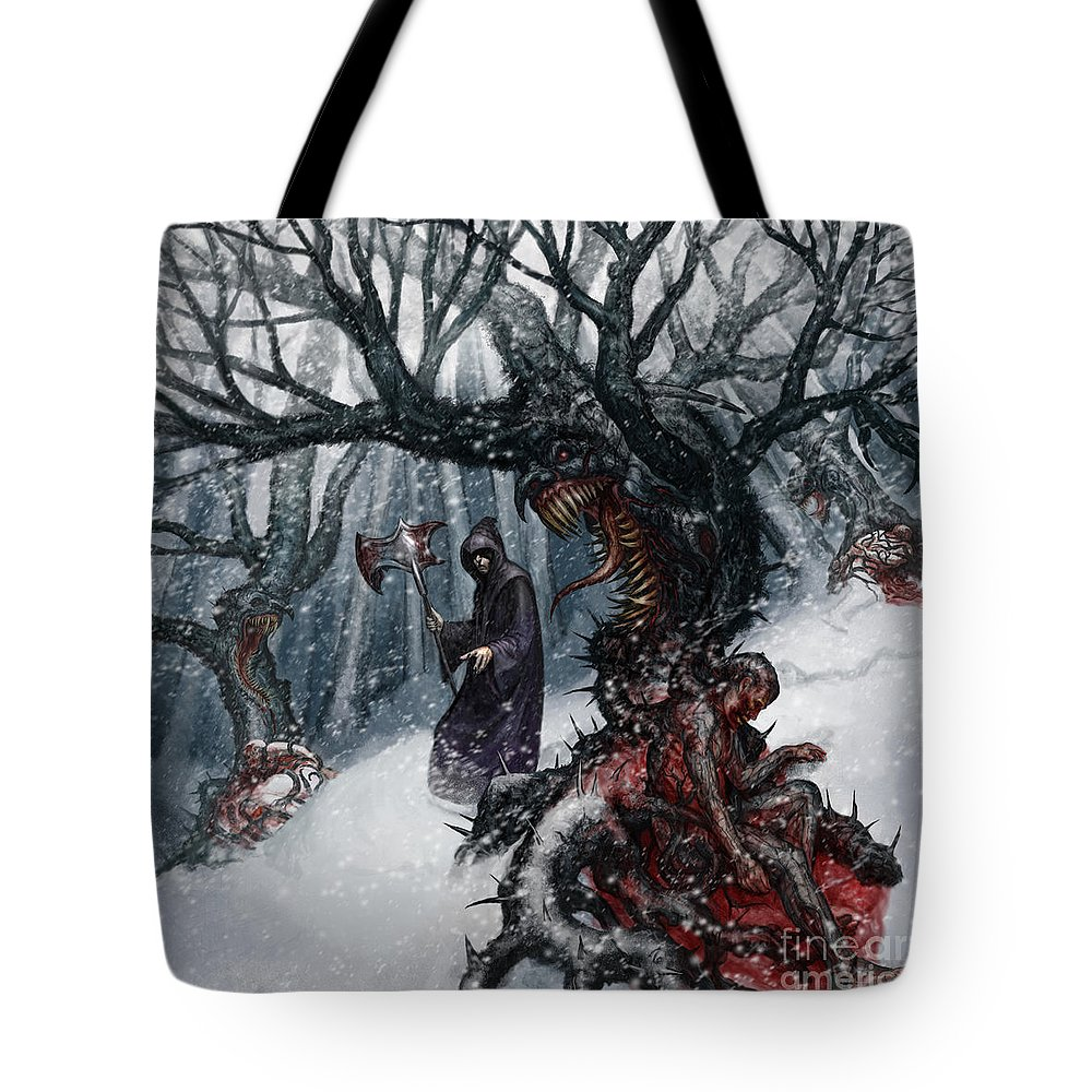 Saprimia Tote Bag featuring the mixed media Cold Day To Die by Tony Koehl