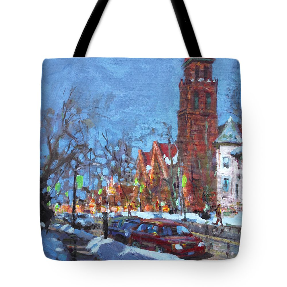 Elmwood Ave Tote Bag featuring the painting Cold Morning In Elmwood Ave by Ylli Haruni