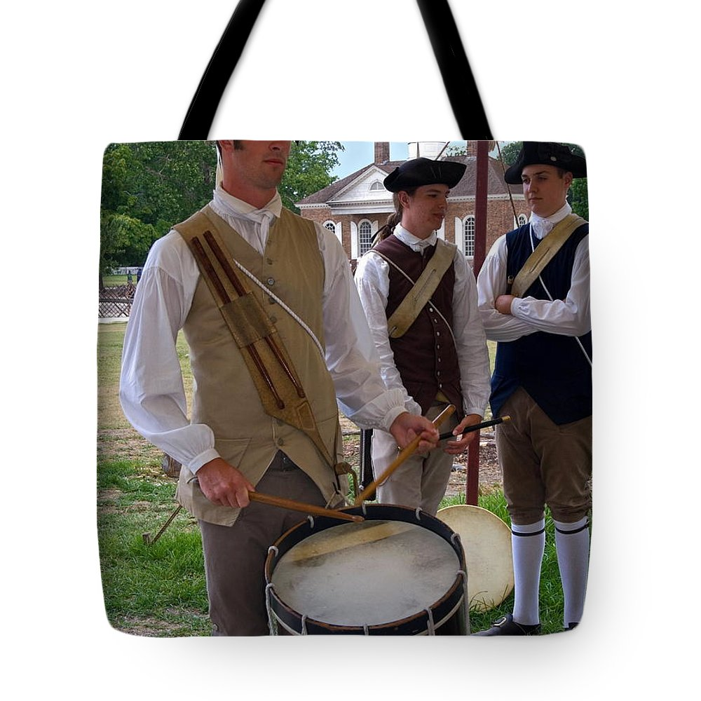 Young Man Playing Drum Tote Bag featuring the photograph Colonial Drummer by Sally Weigand