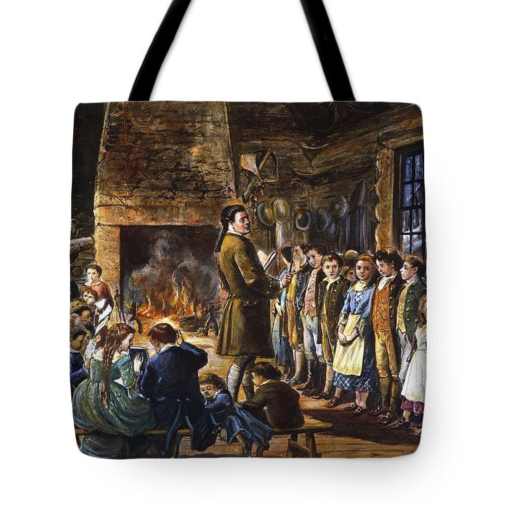 18th Century Tote Bag featuring the drawing Colonial Schoolhouse by Granger