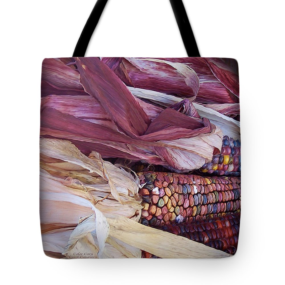 Colorful Corn Tote Bag featuring the mixed media Color Corn by Carol Cavalaris