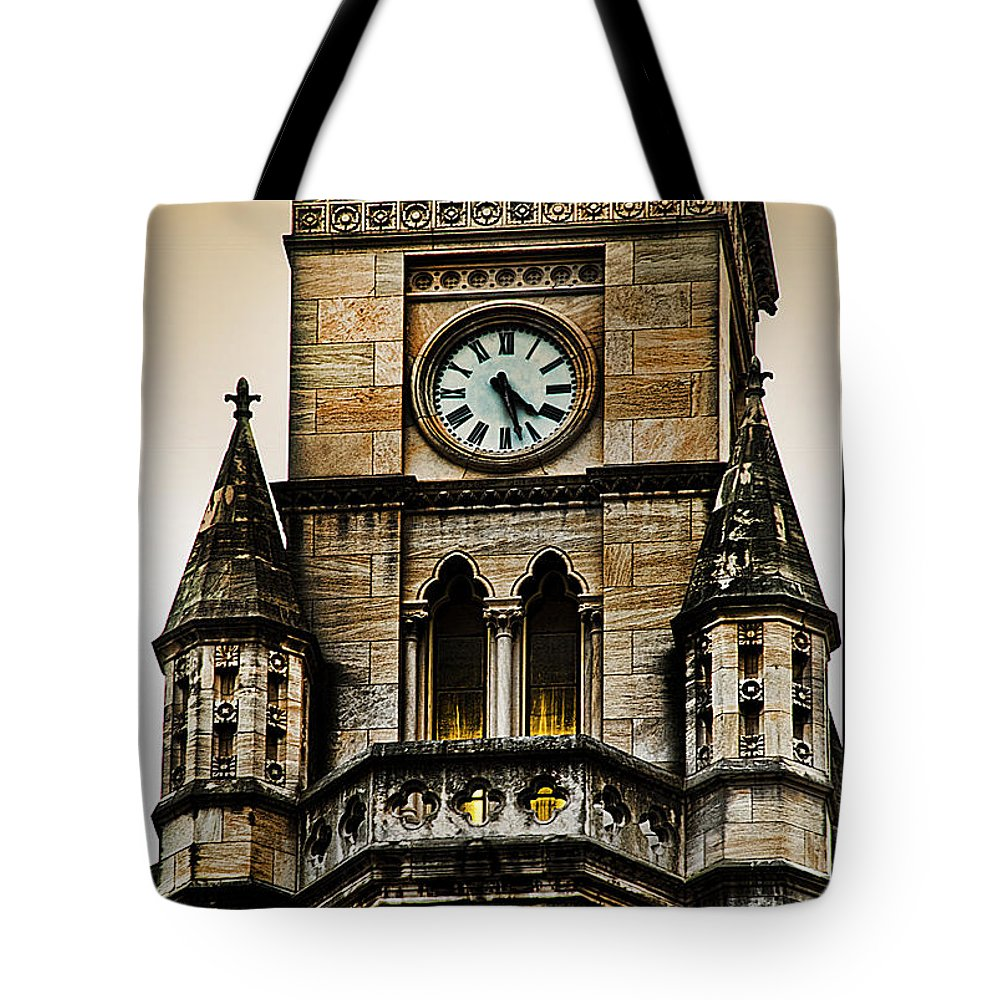 Clock Tote Bag featuring the photograph Colored Clock by Sheri Bartoszek