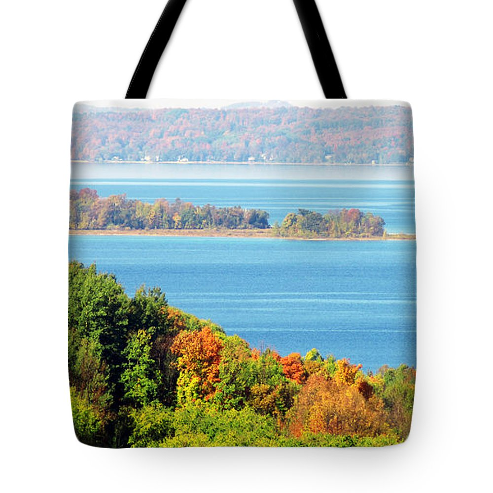 Autumn Colors Tote Bag featuring the photograph Colored Peninsula by Optical Playground By MP Ray