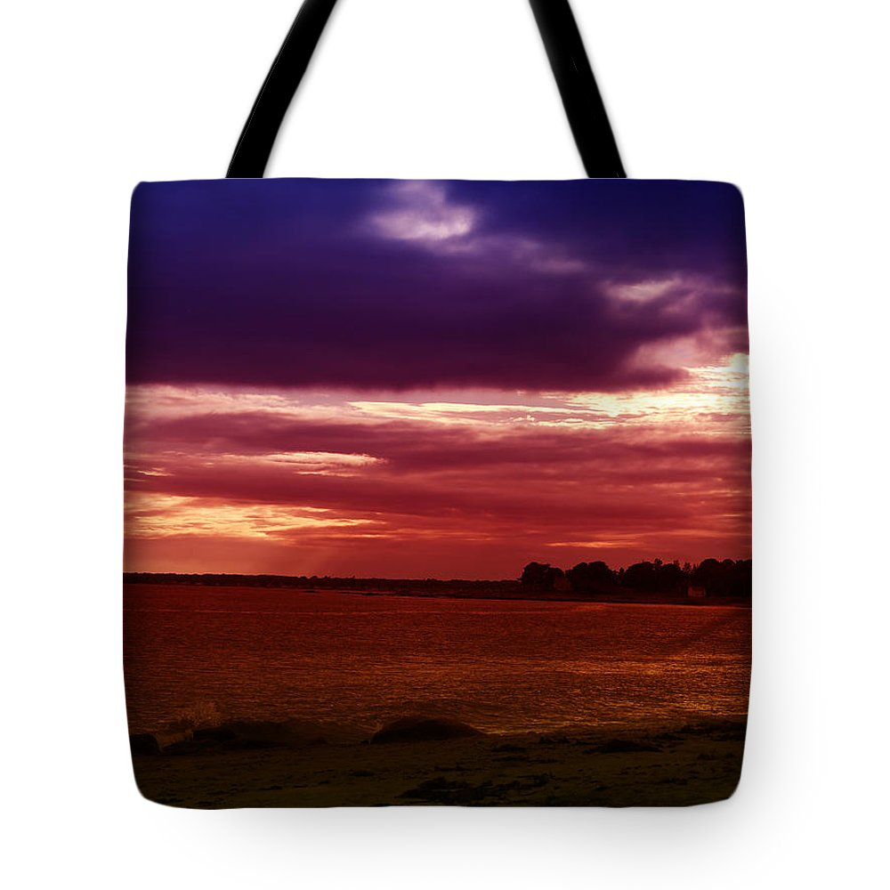 Blue Tote Bag featuring the photograph Colorful Clouds Over Ocean At Sunset by Mike M Burke