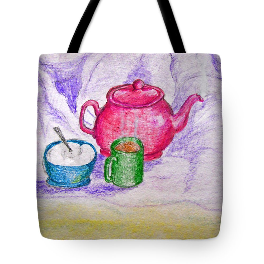 Still Life Tote Bag featuring the drawing Colorful Coffee by Debbie Portwood