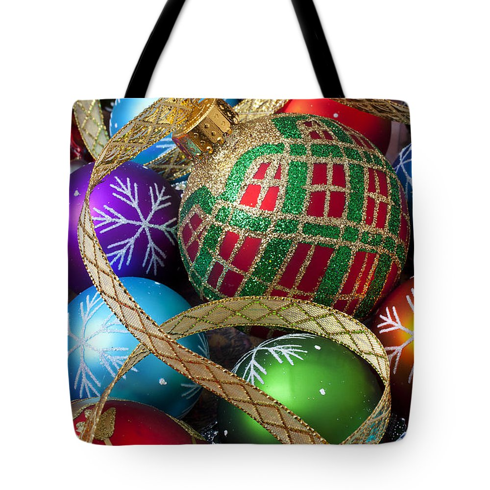 Colorful Ornaments Tote Bag featuring the photograph Colorful Ornaments With Ribbon by Garry Gay
