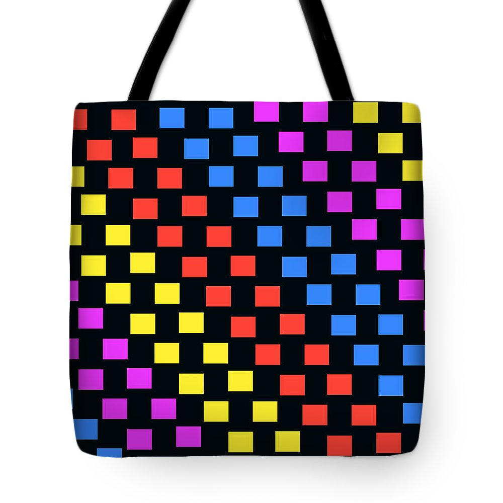 Louisa Tote Bag featuring the digital art Colorful Squares by Louisa Knight