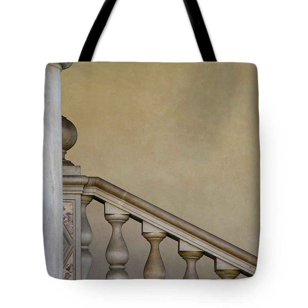 Column Tote Bag featuring the photograph Column And Stairway At Wawel Castle In Krakow Poland by Greg Matchick