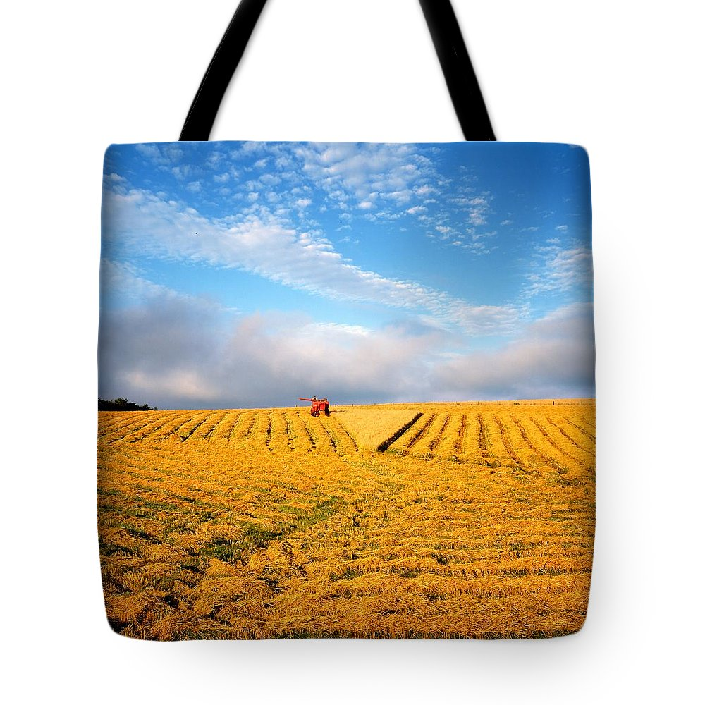 Color Image Tote Bag featuring the photograph Combine Harvesting, Wheat, Ireland by The Irish Image Collection
