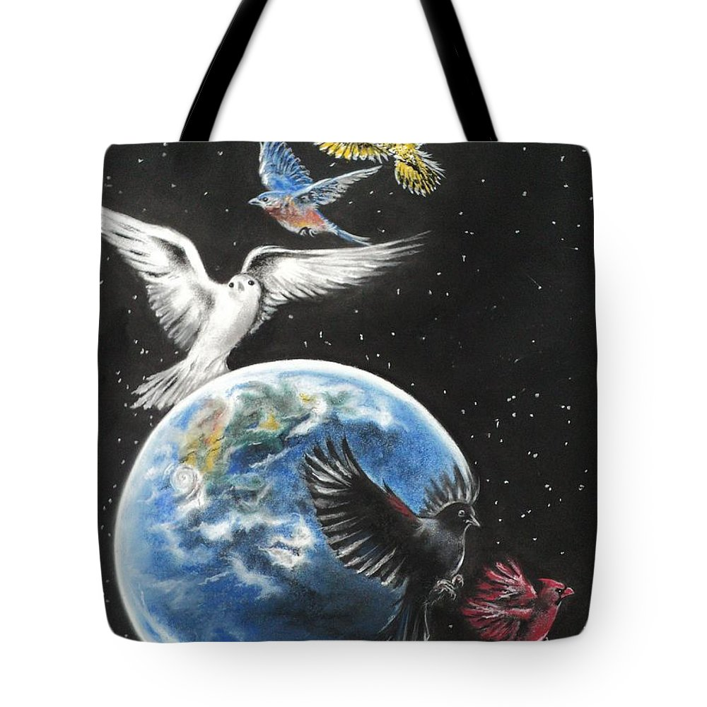 Earth Tote Bag featuring the drawing Come Together by Carla Carson
