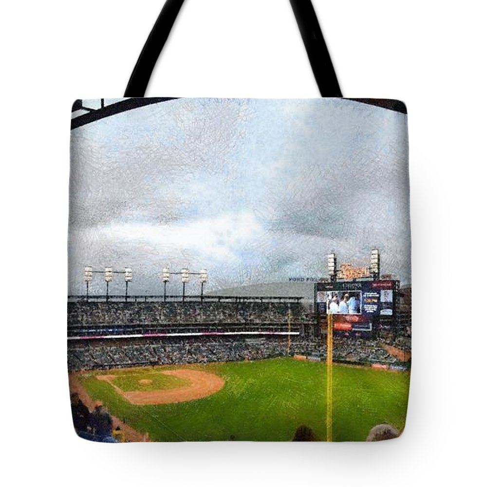 Detroit Tote Bag featuring the photograph Comerica Park Home Of The Detroit Tigers by Michelle Calkins