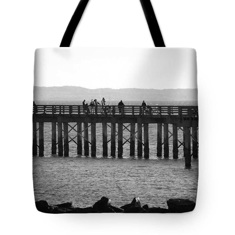 Brooklyn Tote Bag featuring the photograph Coney Island Pier In Black And White by Rob Hans