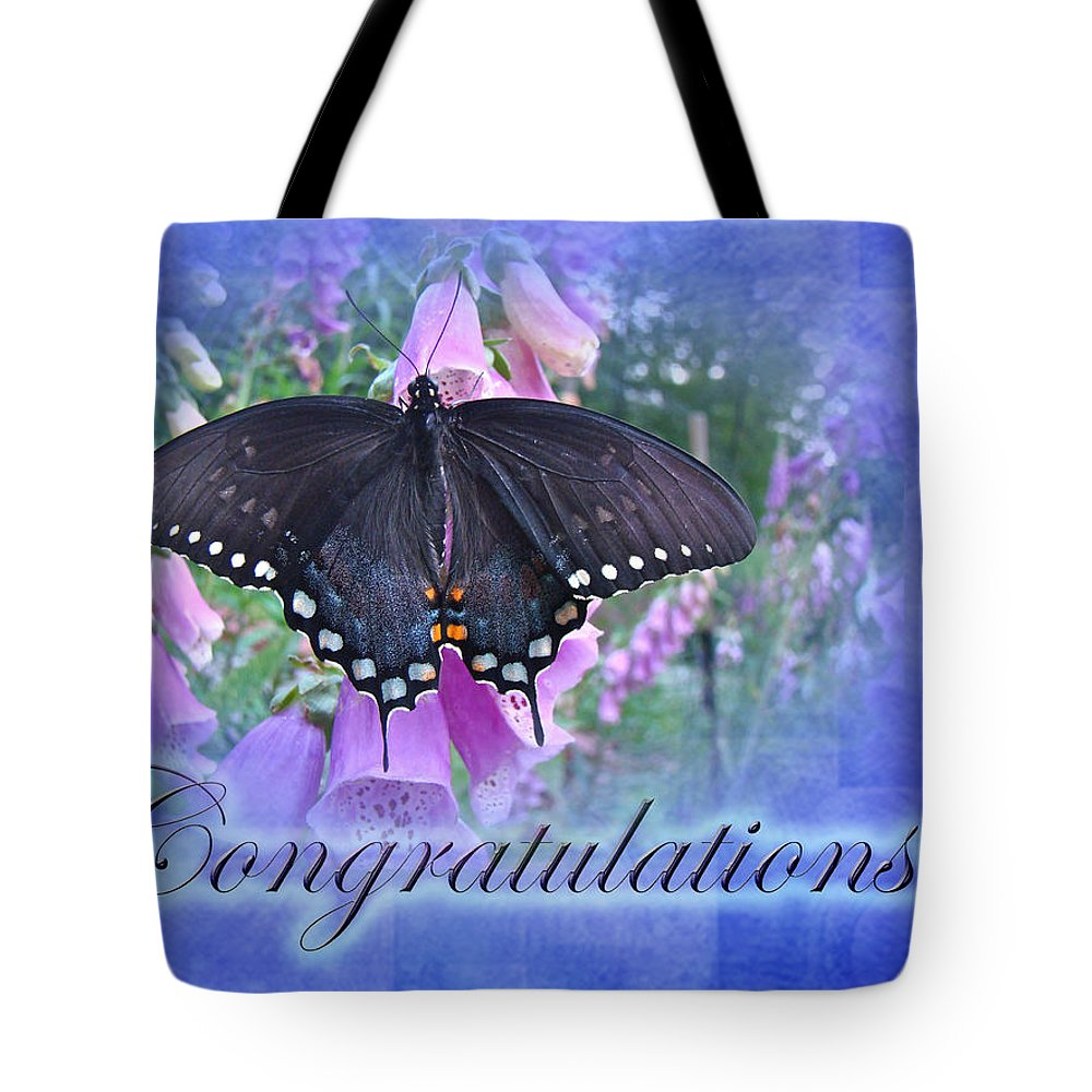 Butterfly Tote Bag featuring the photograph Congratulations Greeting Card - Spicebush Swallowtail Butterfly by Mother Nature