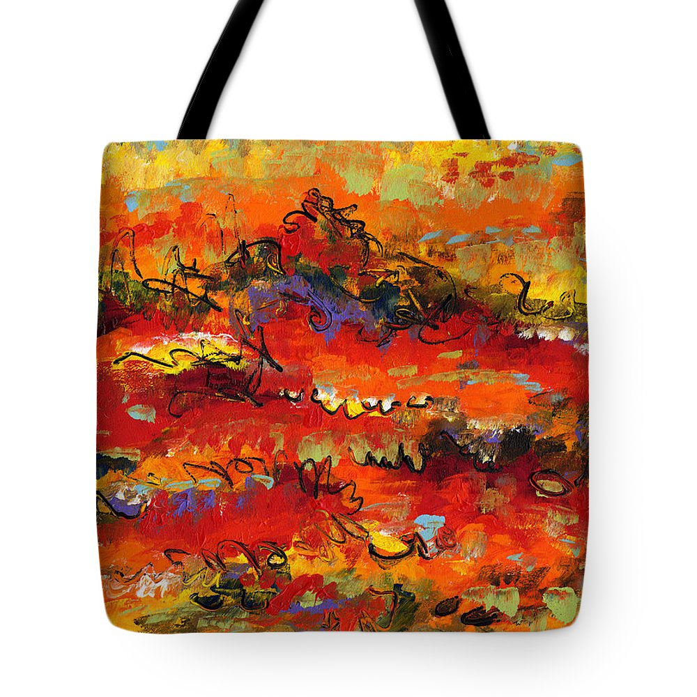 Abstract Tote Bag featuring the painting Contemporary Art Twenty by Lynne Taetzsch