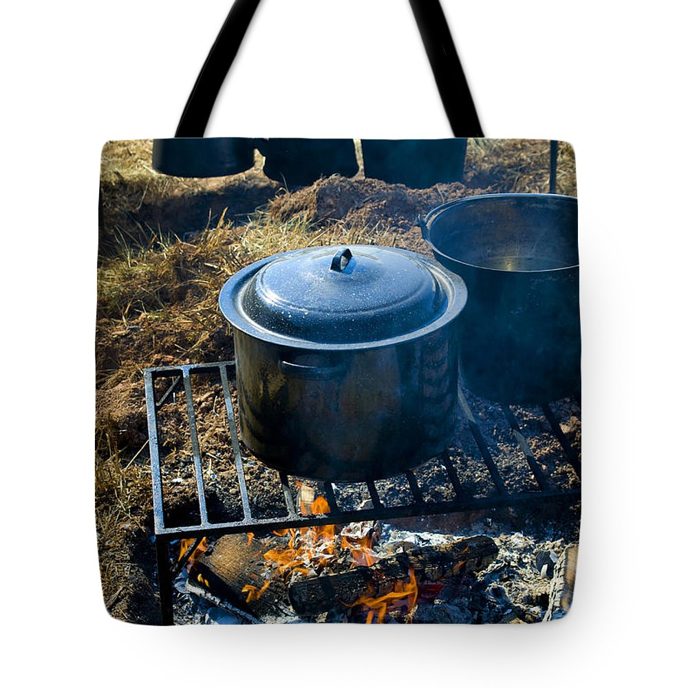 Civil War Tote Bag featuring the photograph Cook Fire by Paul W Faust - Impressions of Light