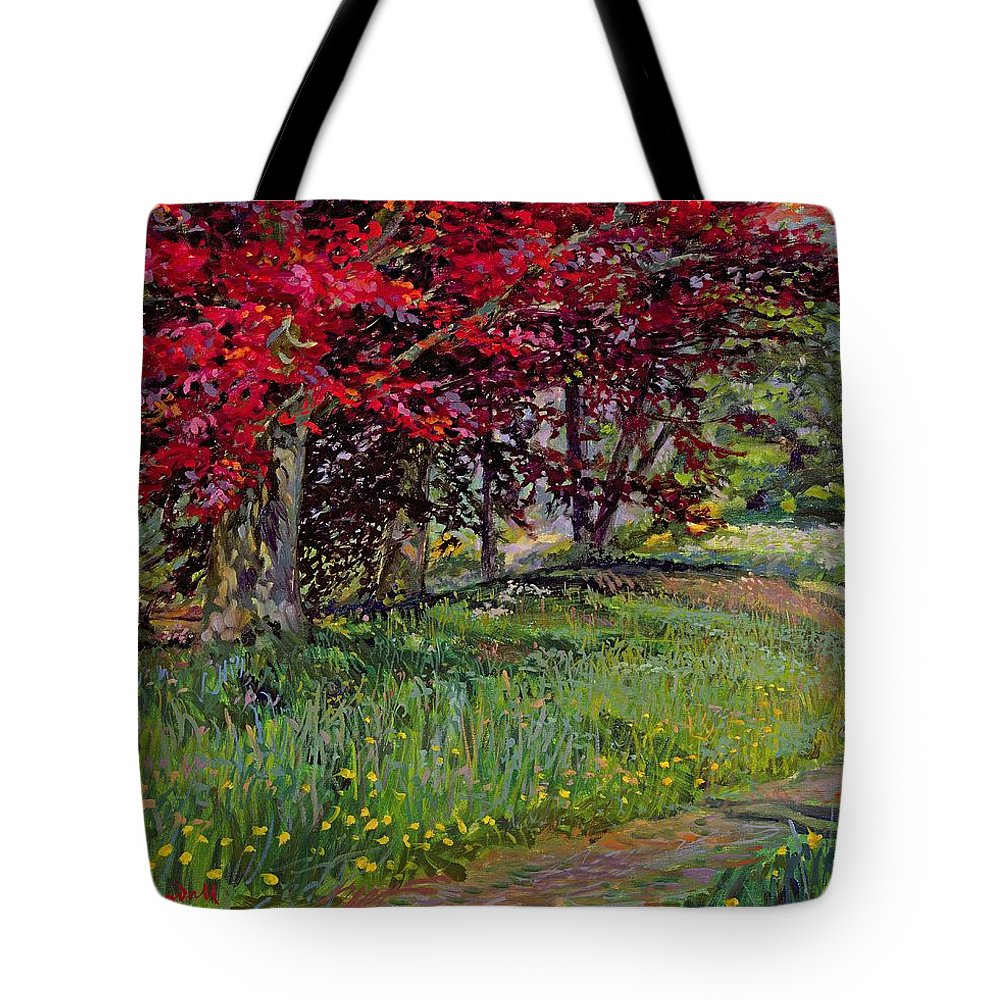 Buttercup Tote Bag featuring the painting Copper Beeches New Timber Sussex by Robert Tyndall