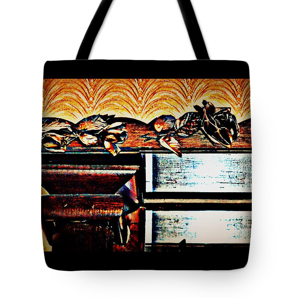 Carvings Tote Bag featuring the photograph Copper Roses Bands Of Steel by Diane montana Jansson