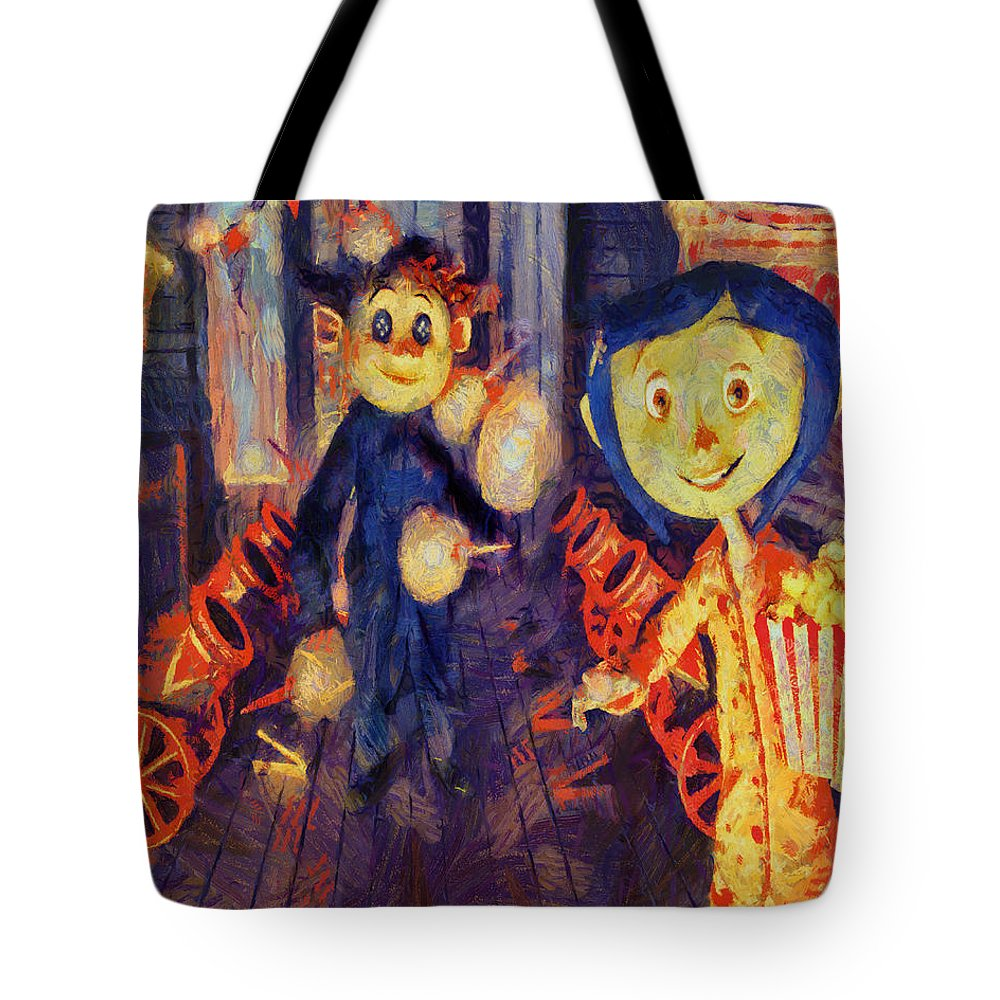 Www.themidnightstreets.net Tote Bag featuring the painting Coraline Circus by Joe Misrasi