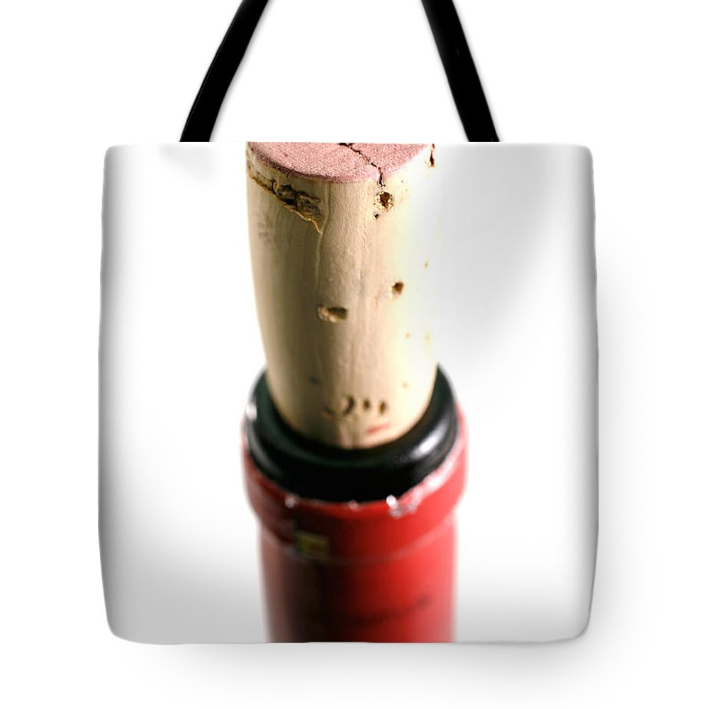 Wine Tote Bag featuring the photograph Cork Closeup by Gaspar Avila