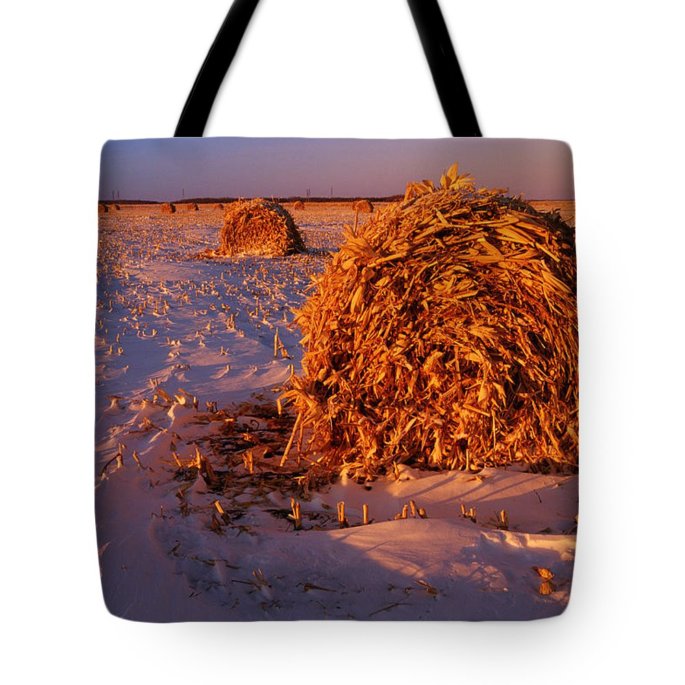 Agriculture Tote Bag featuring the photograph Corn Bales At Sunset, Dugald, Manitoba by Mike Grandmailson