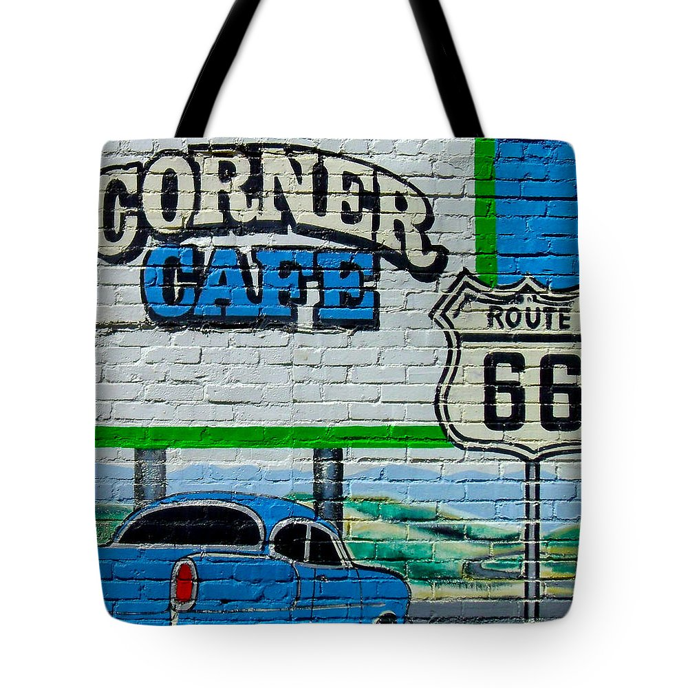 Route 66 Tote Bag featuring the photograph Corner Cafe by Heather Hollingsworth
