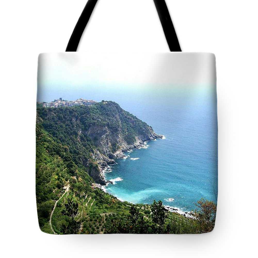 Europe Tote Bag featuring the photograph Corniglia Cinque Terre And Vineyards by Marilyn Dunlap