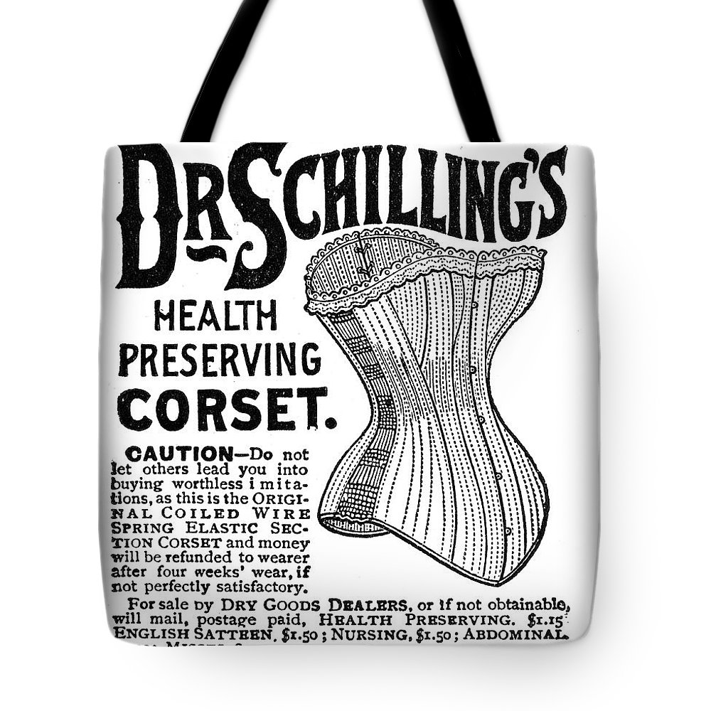 1887 Tote Bag featuring the photograph Corset Advertisement, 1887 by Granger