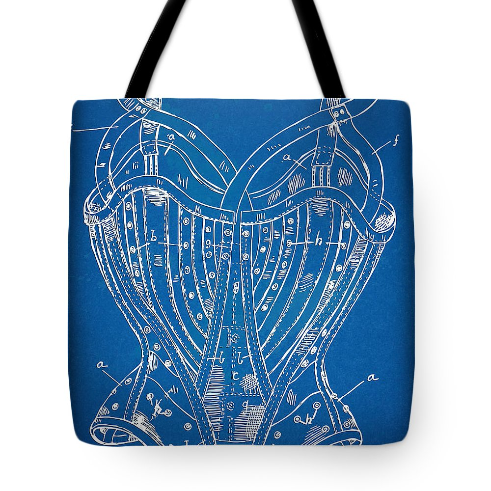 Corset Tote Bag featuring the digital art Corset Patent Series 1905 French by Nikki Marie Smith