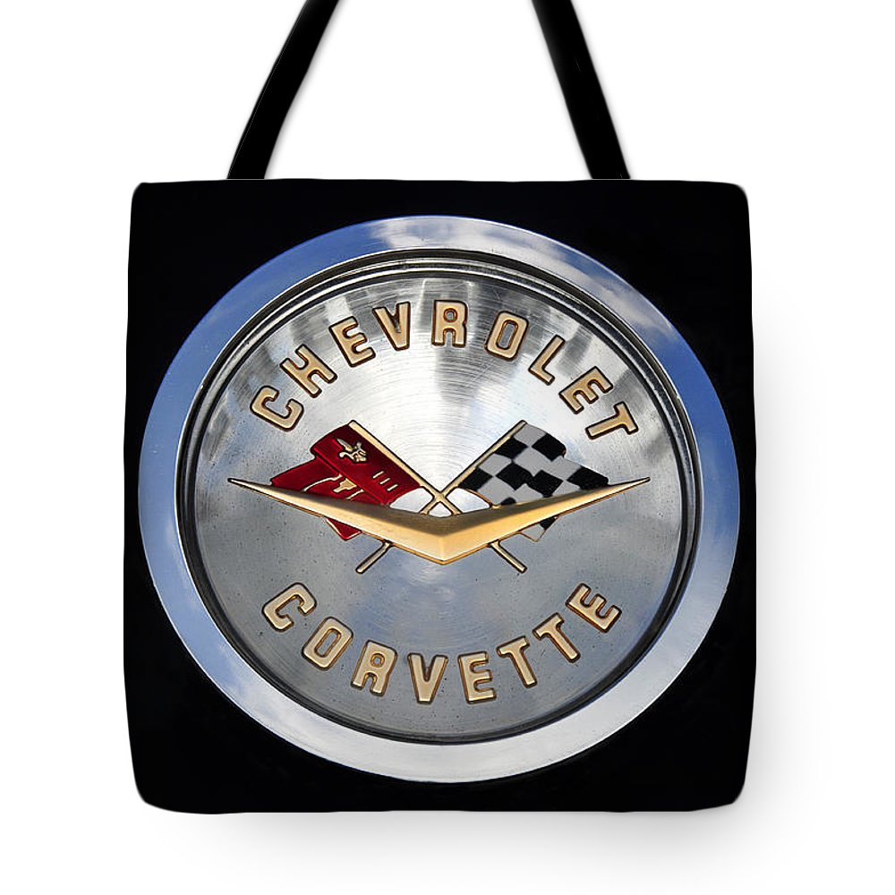 Fine Art Photography Tote Bag featuring the photograph Corvette Name Plate by David Lee Thompson