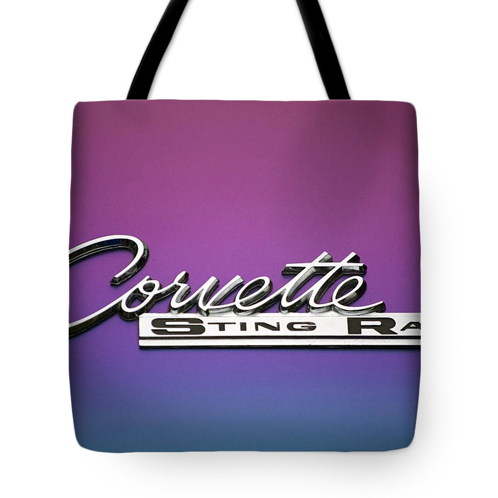 Transportation Tote Bag featuring the photograph Corvette Sting Ray Emblem by Thomas Woolworth