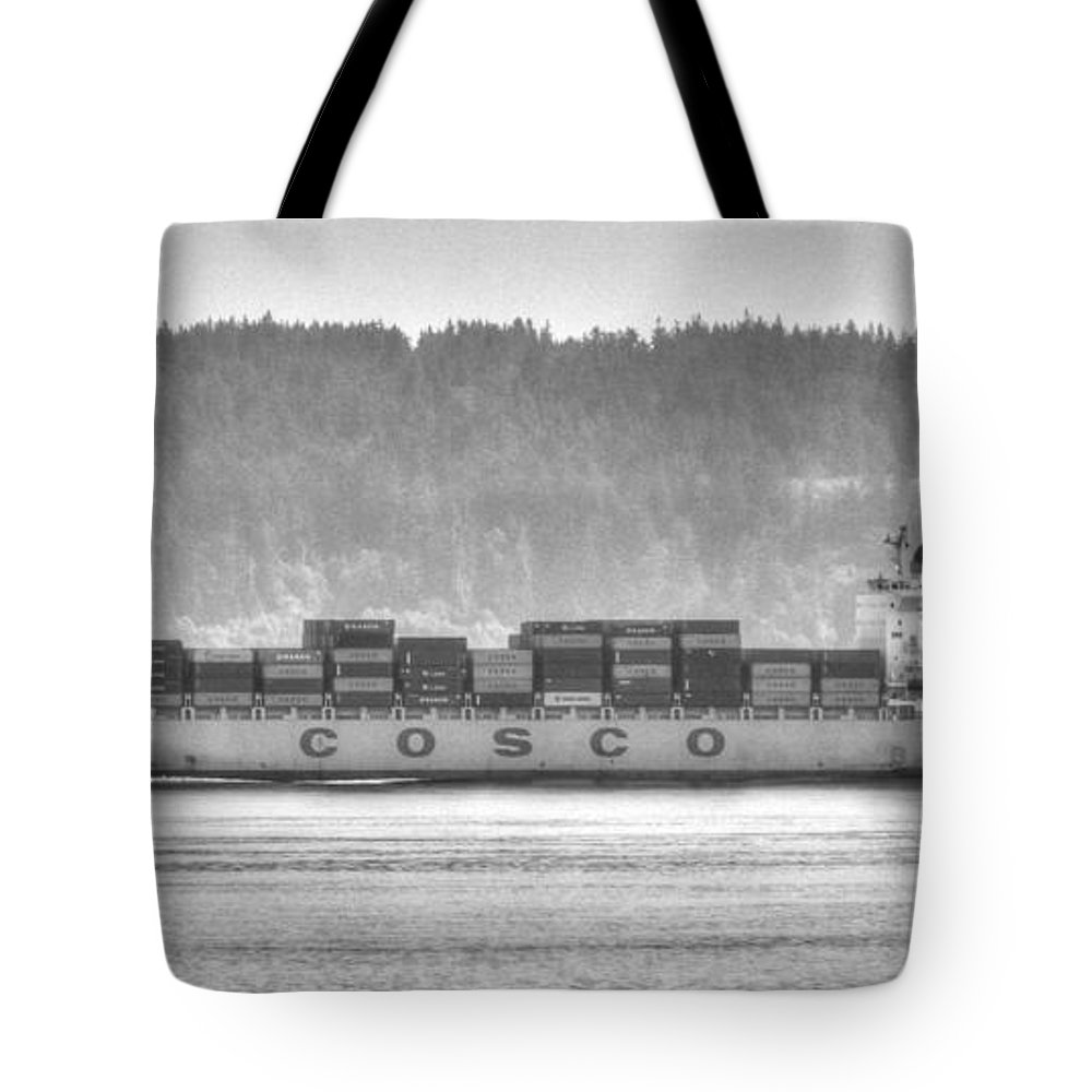 Black And White Tote Bag featuring the photograph Cosco Cargo Ship by Tap On Photo
