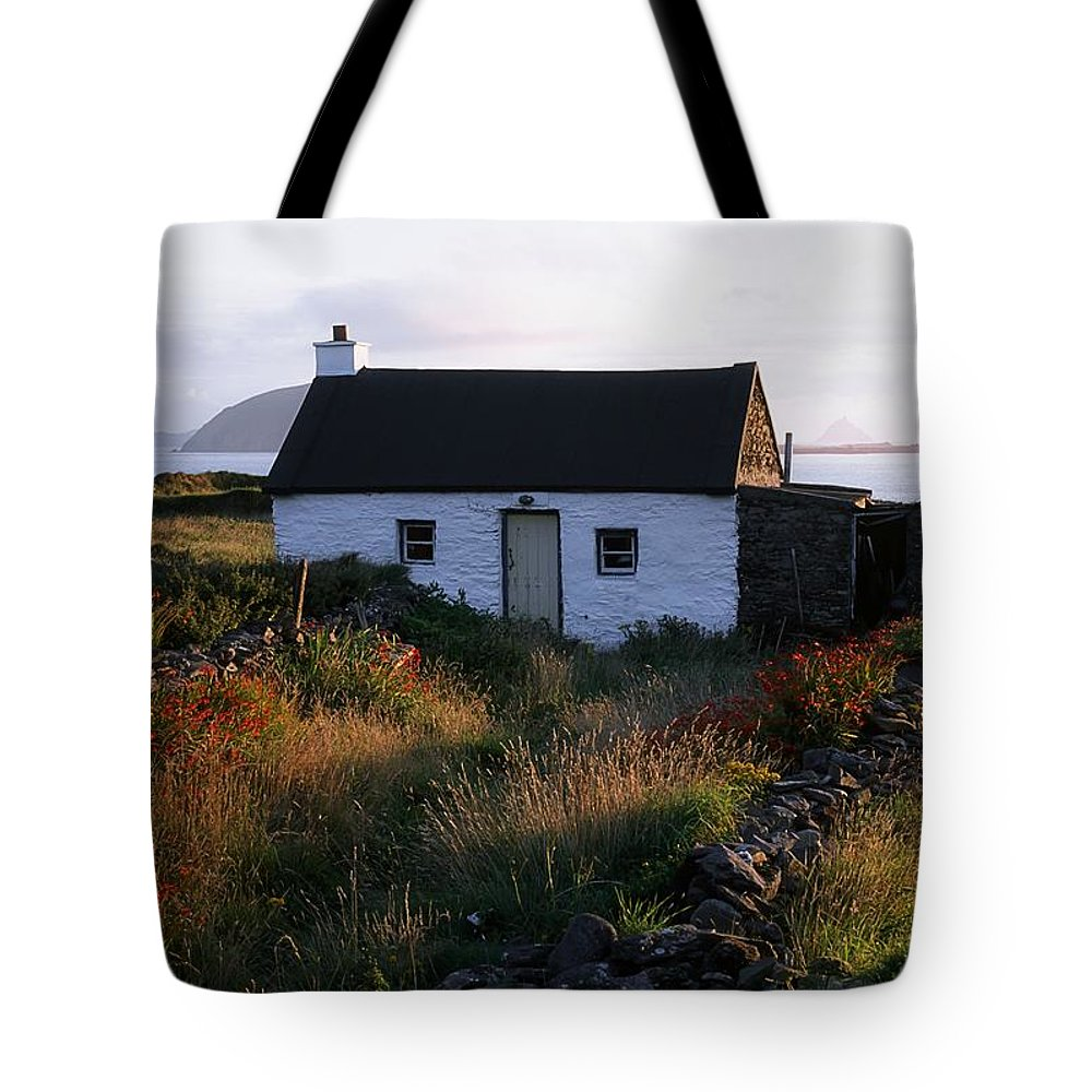 Blooming Tote Bag featuring the photograph Cottage, Near Dunquin, Dingle by The Irish Image Collection