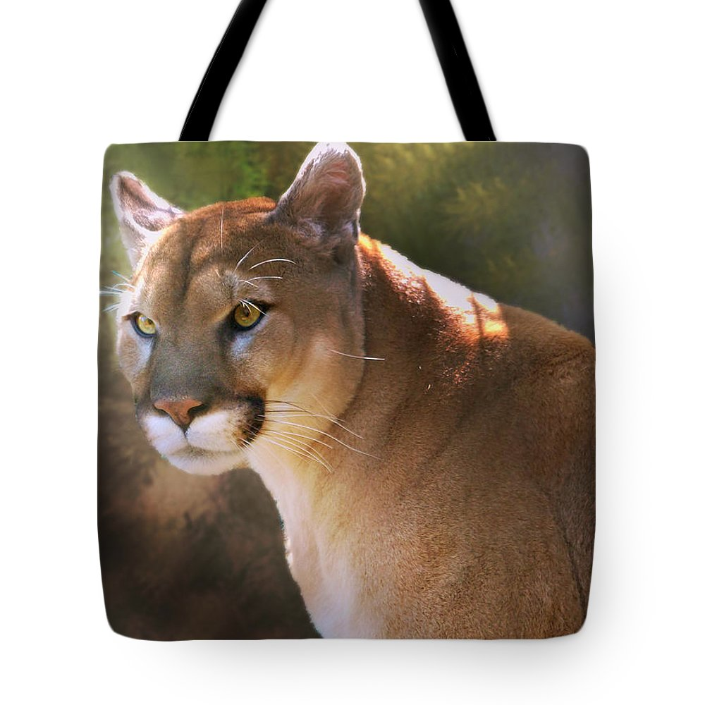 Cougar Tote Bag featuring the digital art Cougar by Mary Almond