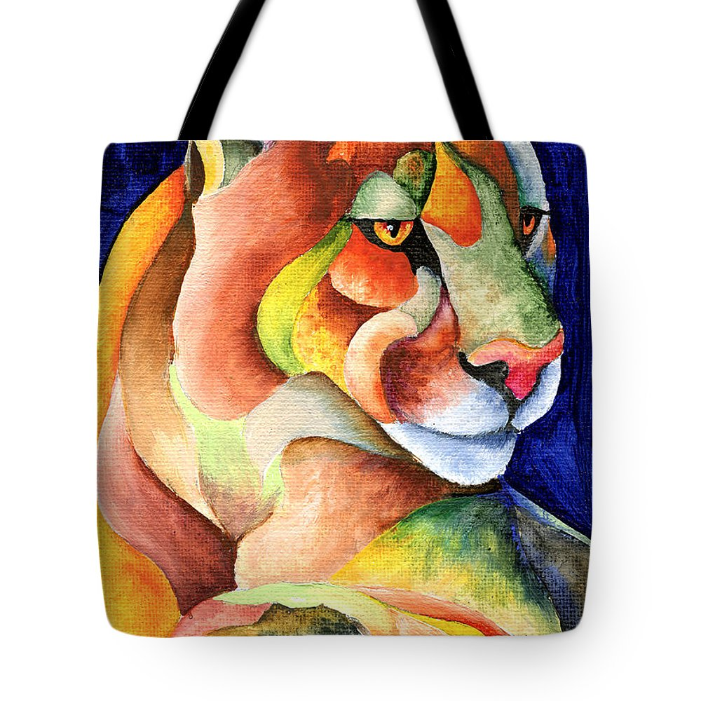 Cougar Tote Bag featuring the painting Cougar by Sherry Shipley