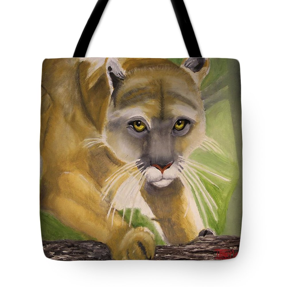 Cat Tote Bag featuring the painting Cougar by Terry Lewey