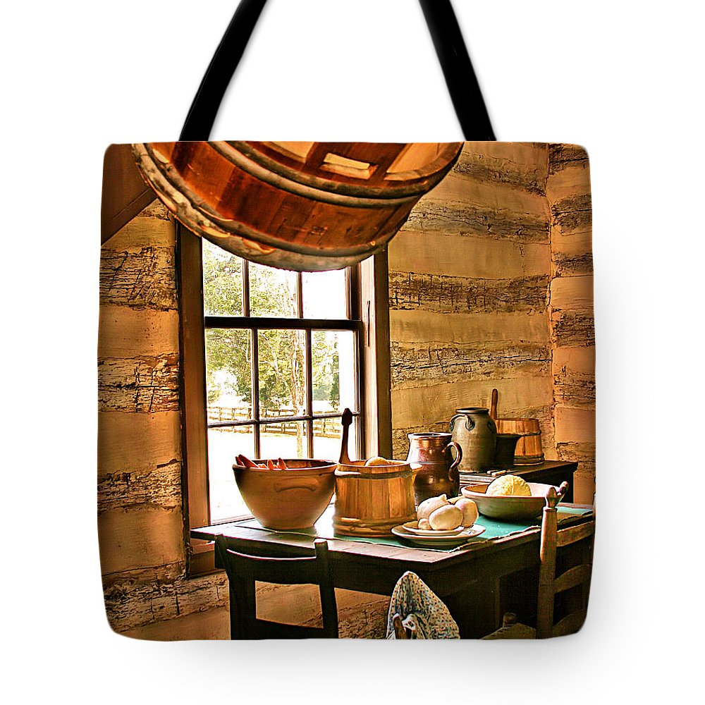 Country Art Tote Bag featuring the digital art Country Kitchen by Mary Almond