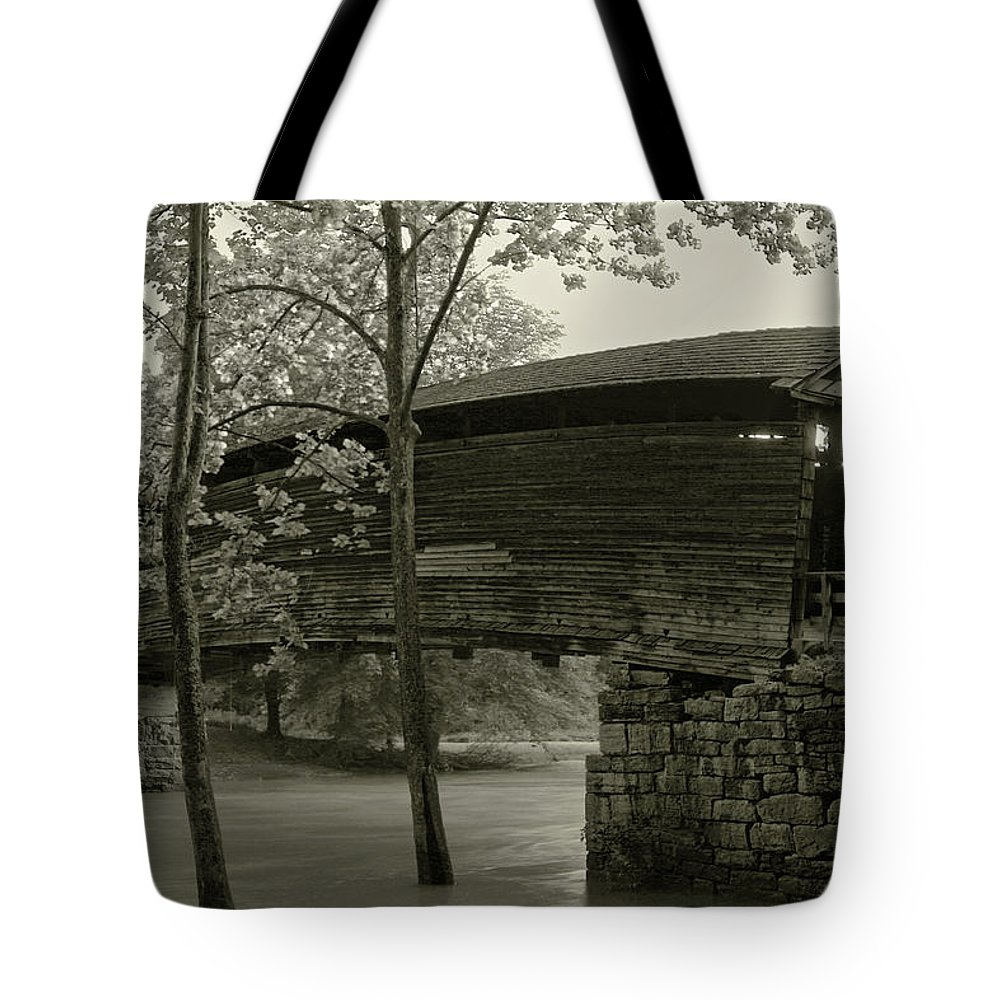 Covered Bridge Tote Bag featuring the photograph Covered Bridge by Mary Almond