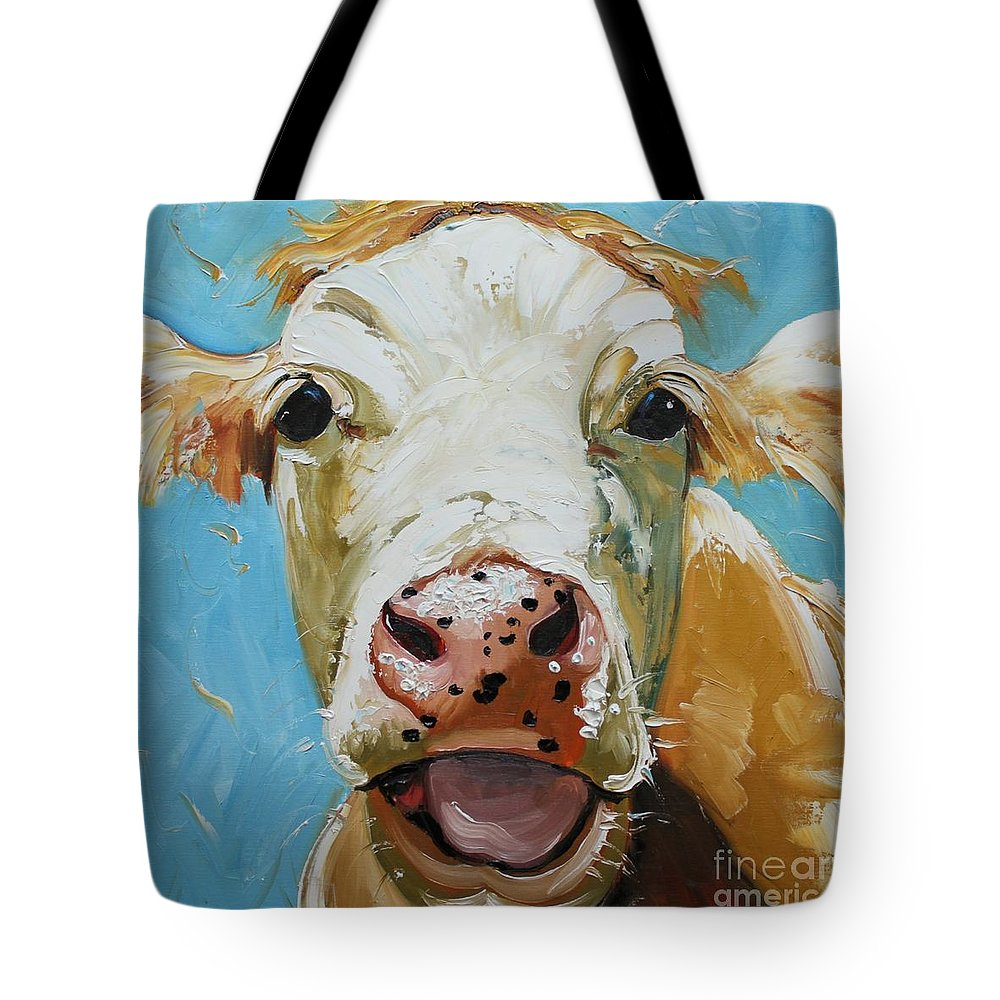 Cowwhimsical Portraitanimalfarm Tote Bag featuring the painting Cow 310 by Rosilyn Young